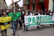 Protests in Bogota against the massacre in Tumaco and to demand that the government implement its program for the substitution of crops grown for illicit use.