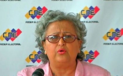 CNE President Tibisay Lucena addresses the press.