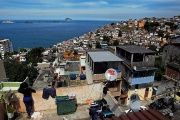 A working class neighborhood, often referred to as a 'favela,'in the city of Rio de Janeiro.