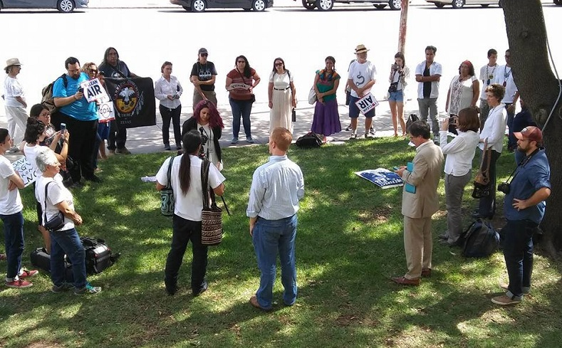 Ralliers meet in Austin, Texas to protest Columbus Day during the city