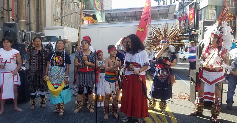 Ralliers demonstrating in the streets of Los Angeles, California for Indigenous People