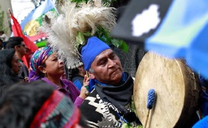 Mapuche Indian activists take part in a rally against Columbus Day in downtown Santiago, Chile.