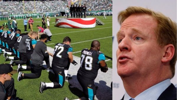 Roger Goodell, Commissioner of the National Football League (R) slammed players and asserted that NFL bosses believe all players should stand for the U.S. anthem.