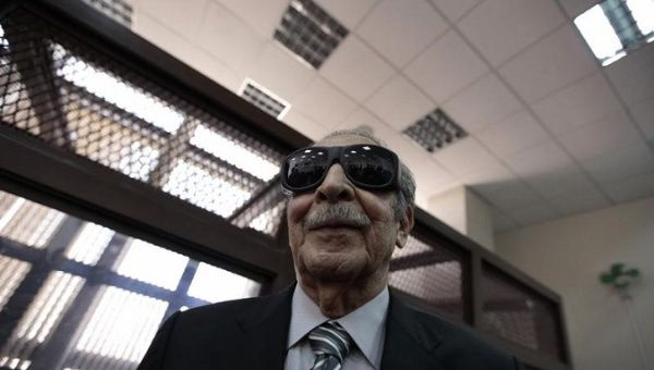 Efrain Rios Montt stands during a pause in a hearing at the Supreme Court of Justice in Guatemala City, November 19, 2013.