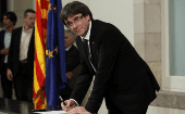 Carles Puigdemont in the Catalan National Assembly, Oct. 10th, 2017.
