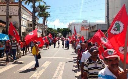 MST members march in the center of Maceio, the capital city of Alagoas state, to protest budget proposal which cuts funding in agrarian reform projects.