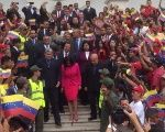 Venezuela's ANC President Delcy Rodriguez is flanked by newly elected governors who are being sworn in by the ANC.