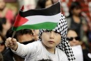 A Palestinian-Chilean child waves a Palestinian flag during a march, Santiago, Chile, August, 2014.