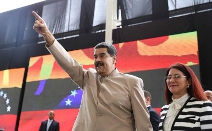President Nicolas Maduro next to his wife Cilia Flores.