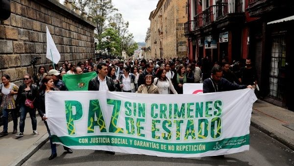 Coca producers demanding the proper implementation of the peace accords in Bogota on Oct. 6, 2017.