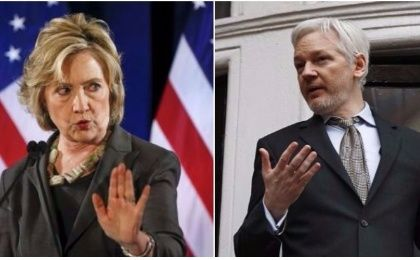 Hillary Clinton (L) and Julian Assange (R).