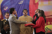 The Venezuelan President Nicolas Maduro at a ceremony for the new governor of Barinas state, Argenis Chavez, October 20, 2017.