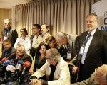 The Spanish forensic doctor Aurelio Luna, with a group of forensic experts, speaks during a news conference on Neruda's death, Santiago, Chile October 20, 2017
