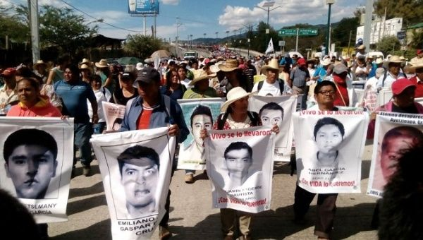 A march of relatives of people disappeared in Mexico demanding justice.