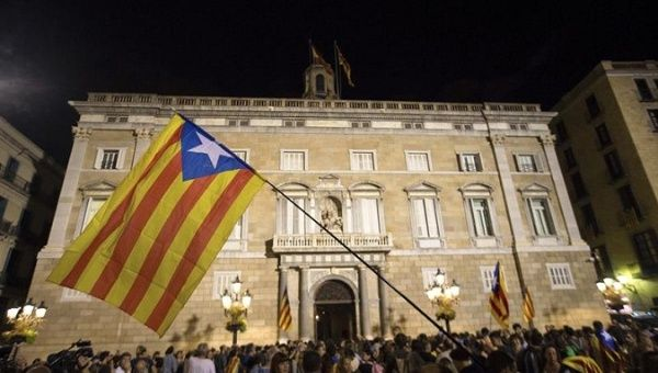 Pro-Independence supporters rally outside the Catalan government building, Barcelona, Spain, October 21, 2017.