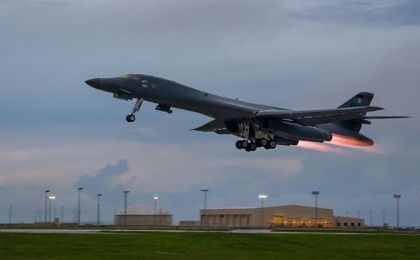 A U.S. Air Force Rockwell B-1 Lancer supersonic bomber.