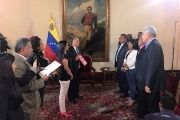 Elected governors from the opposition Democratic Action party are sworn in before Constituent Assembly President, Delcy Rodriguez at the Casa Amarilla.