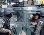 Soldiers patrol the streets of Tegucigalpa, Honduras, during the launch of an anti-violence operation.