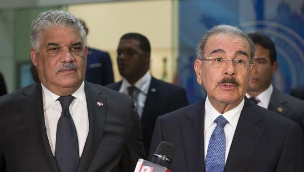 Dominican Foreign Minister Miguel Vargas and President Danilo Medina.