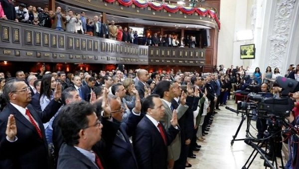 Newly elected Venezuelan governors during the swearing in ceremony.