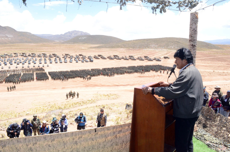 Bolivian President Evo Morales addresses the armed forces at the 207th anniversary ceremony.