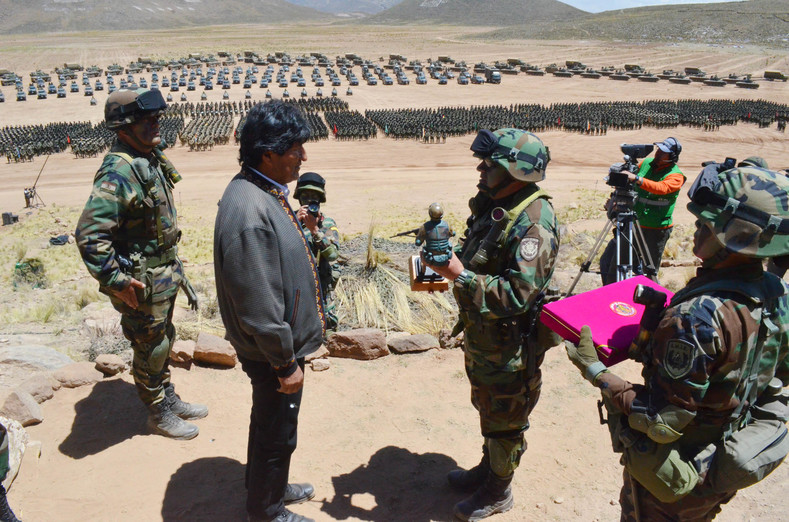 "Evo Morales honors the ""anti-imperialist"" role to which he says the Bolivian military has returned."