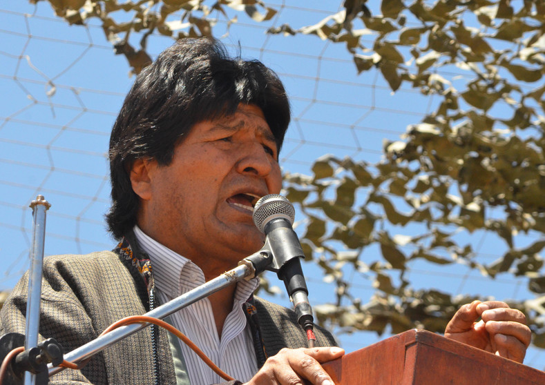 Evo Morales addresses the assembled military crowds.