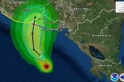 The path of Tropical Storm Selma as it hits El Salvador.