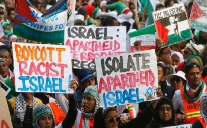 Pro-Palestine demonstrators in Cape Town, South Africa.
