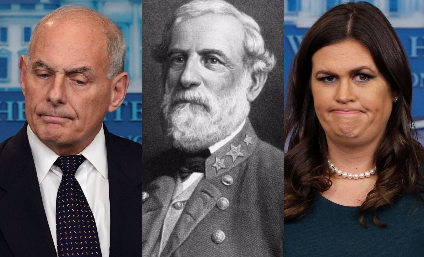 Left to Right: White Houes Chief of Staff John Kelly, Confederate General Robert E. Lee, WH Press Secretary Sarah Huckabee Sanders.