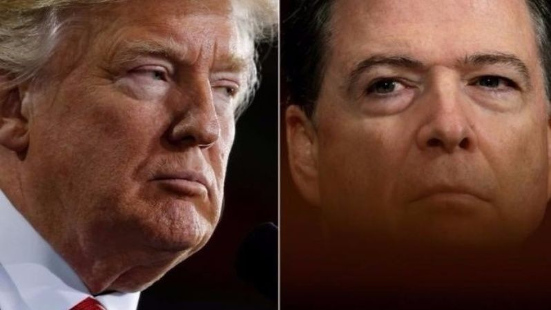 Donald Trump (L) and James Comey (R).