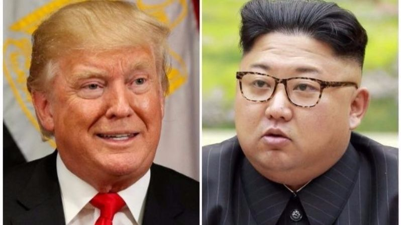 A combination photo shows U.S. President Donald Trump in New York, U.S. September 21, 2017 and North Korean leader Kim Jong Un in this undated photo released by North Korea