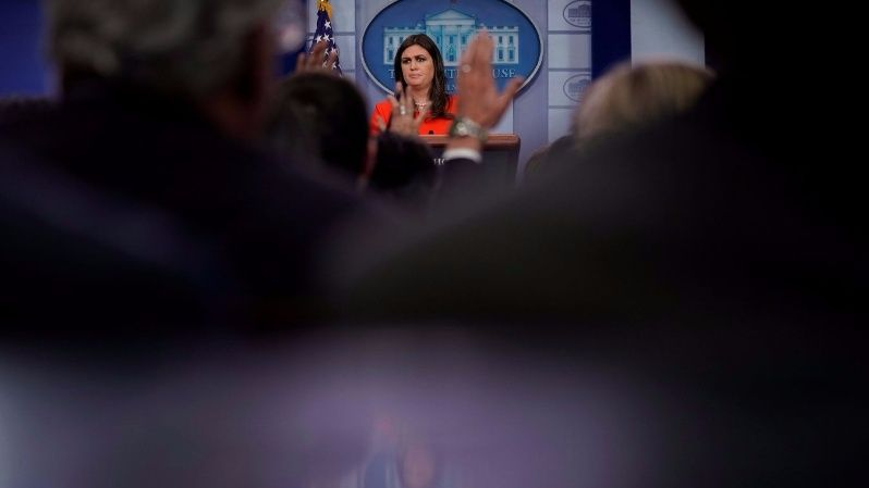 White House Press Secretary Sarah Huckabee Sanders holds the daily briefing at the White House in Washington, U.S. November 1, 2017.