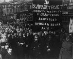 A sign during the October Revolution reads: