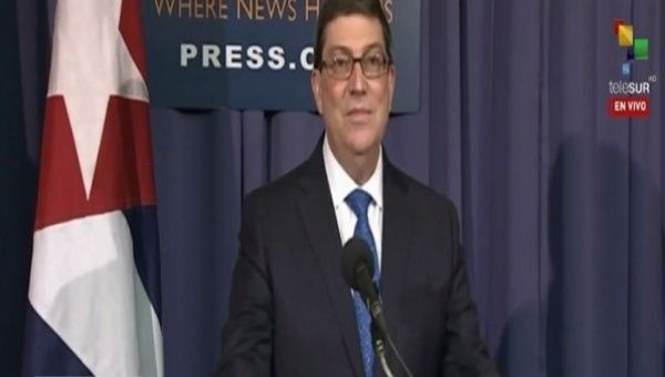 Cuban Foreign Minister Bruno Rodriguez speaking at the Cuban embassy in Washington D.C.