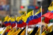 Venezuelan flags are seen during a rally in Caracas, Venezuela.