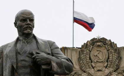 A statue of the founder of the Soviet state Vladimir Lenin.