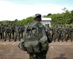 Brazilian Army soldiers at the border with Colombia during a training in Vila Bittencourt, Amazon State, Brazil.