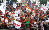 Venezuelans gather to celebrate the 100 years of the October Revolution.