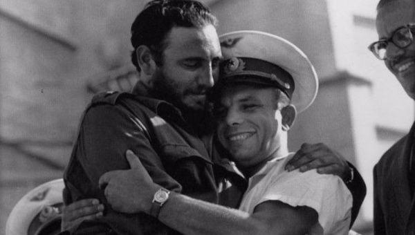 Fidel Castro and Yuri Gagarin.