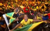 Jamaicans celebrating.
