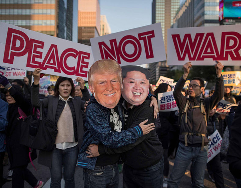 Protesters called for a peace treaty to end over half a century of hostility.