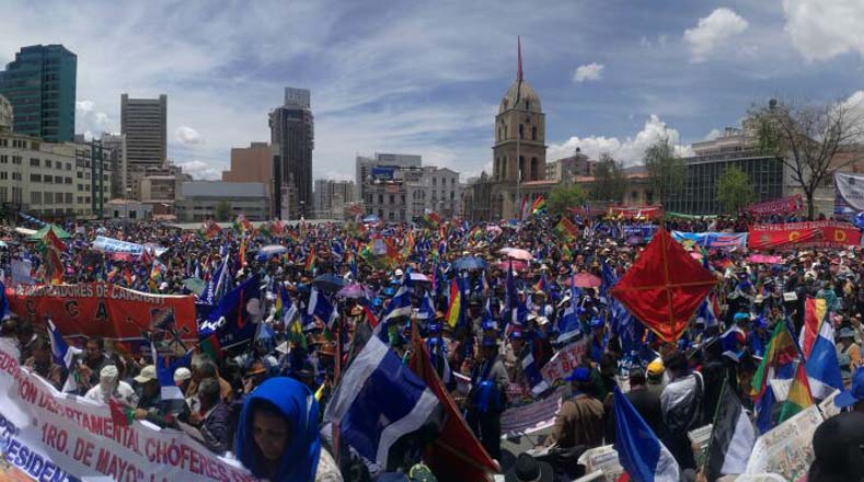 Thousands of Bolivians marched to support Morales ahead of the presidential elections.