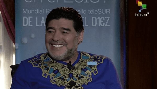 "Maradona will host the program ""De la Mano del Diez,"" which will be broadcast on teleSUR during the 2018 World Cup Russia."
