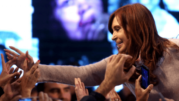 Cristina Fernandez de Kirchner, former Argentine President and candidate for the Senate in the mid-term primary elections, greets supporters at her campaign headquarters in Buenos Aires, Argentina early August 14, 2017.