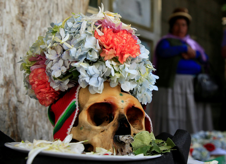 A skull decorated with flowers.