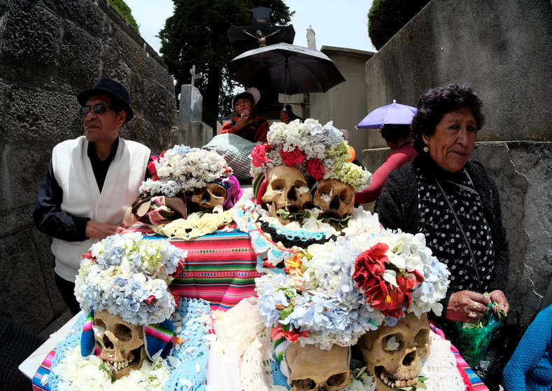 Ñatitas, or skulls, are taken to the cemetery one week after Day of the Dead.