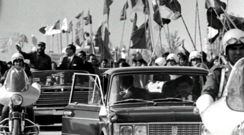 Castro and Allende were greeted by hordes of supporters during the landmark tour.