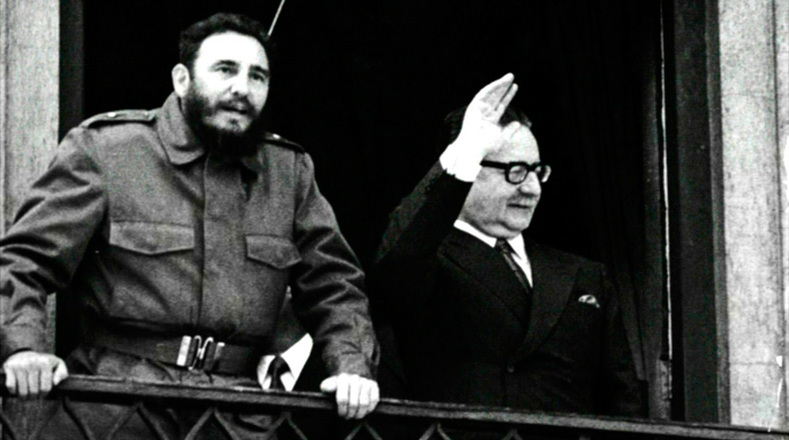 Castro and Allende were greeted by enthusiastic crowds as they traversed Chile.