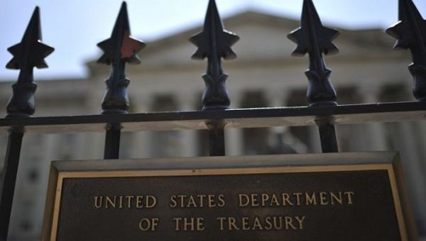 The gate at the U.S. Treasury Department.